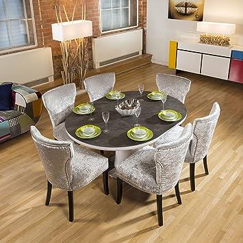 Cerámica Mesa de Comedor Extensible Redonda/Ovalada + 6 sillas, de ...
