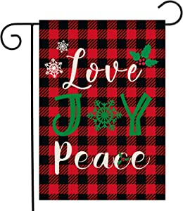 Dazonge Love Joy Peace Christmas Garden Flag 12.5 x 18 Inch | Double Sided Buffalo Check Plaid Winter Yard Flag | Rustic Christmas Yard Decorations | Holiday Flags Outdoors
