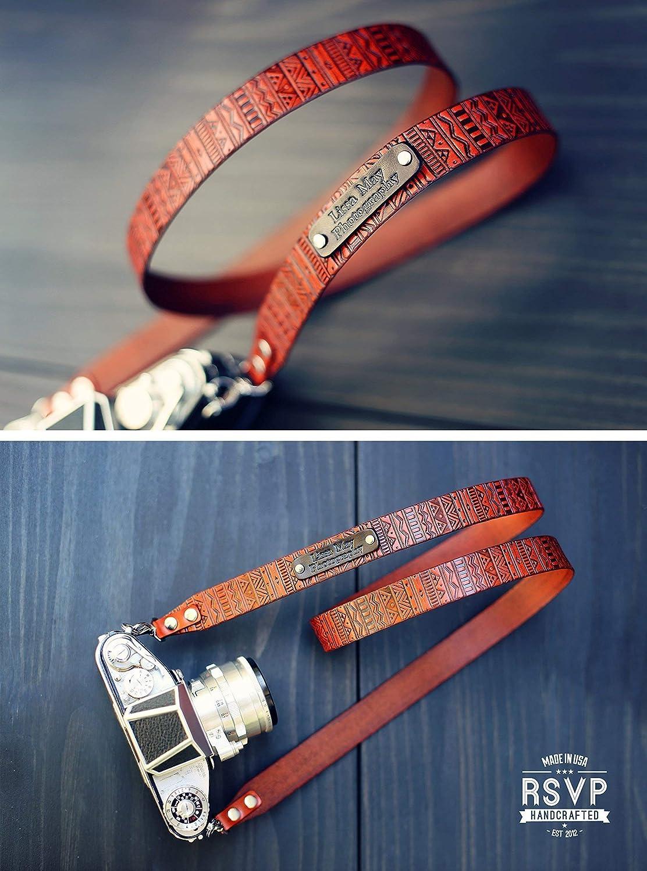 Custom Leather Camera Strap, Handmade personalized gift, DSLR camera strap, Custom name initials, GPS coordinates, Aztec