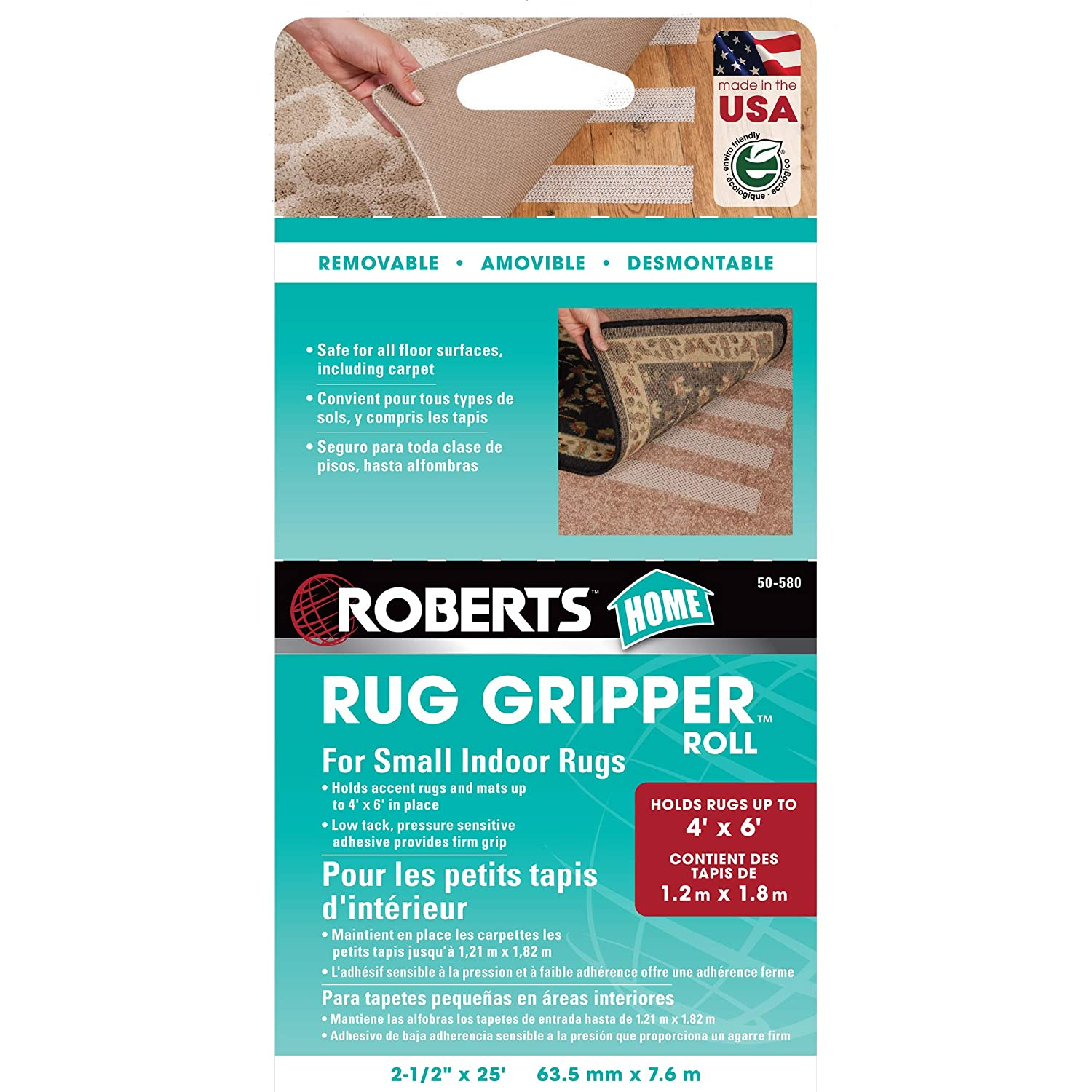 3dd2e0d0b70 Amazon.com  Roberts 50-580 Roll of Indoor Anti-Slip Gripper Tape for Small  Rugs