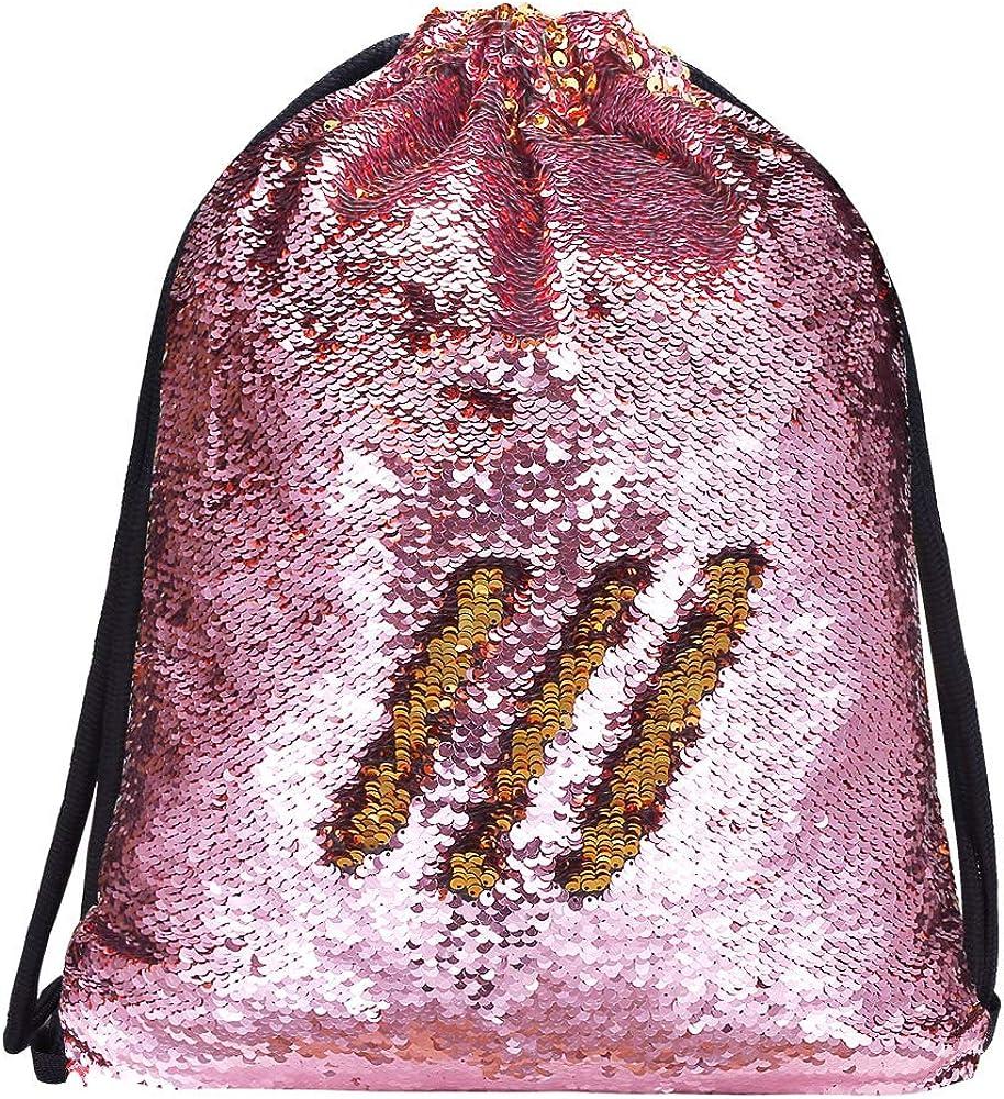 Alritz Mermaid Sequin Drawstring Bags Reversible Sequin Dance Bags Gym Backpacks for Girls Kids