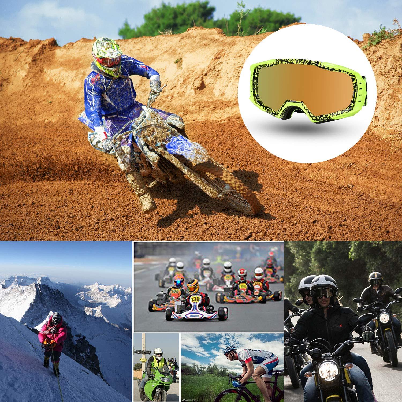 Fodsports Motorrad-Schutzbrillen Anti Fog UV Snowboard Schutzbrille Winddicht Ski-Schutzbrillen Motocross Goggle f/ür Skifahren Skaten Blue