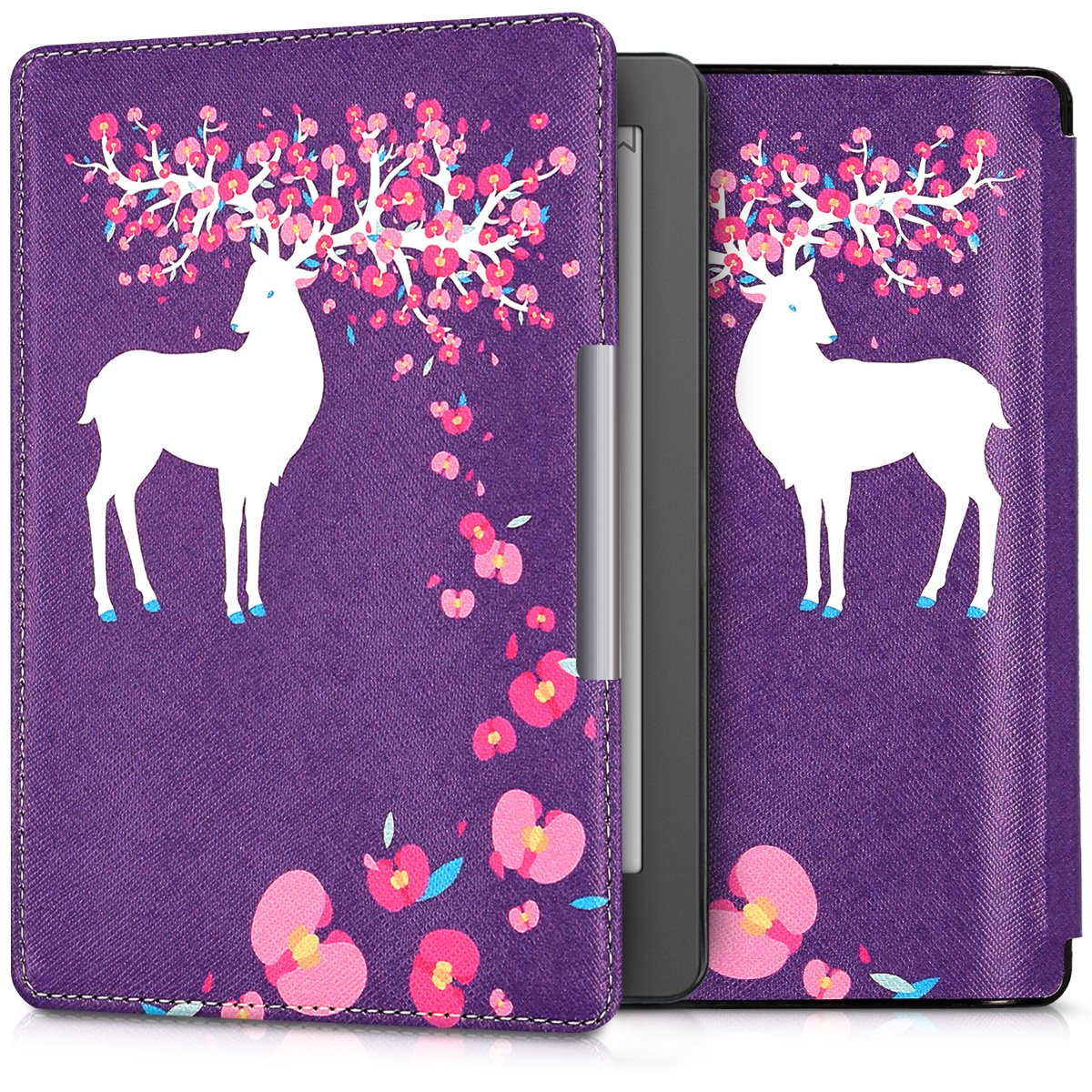 kwmobile Case for Kobo Aura Edition 2 - Book Style PU Leather Protective e-Reader Cover Folio Case - white light pink violet