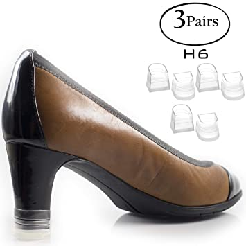 1402c80ad44e1 Heel Hunks Clear-Glass H6 16mm 3-Pairs Heel Protectors Replacement Tip Caps  for High Heel Shoes...