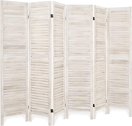 Best Choice Products 5.6ft Tall 6-Panel Folding Freestanding Wood Blind Style Room Divider Privacy Screen – Natural
