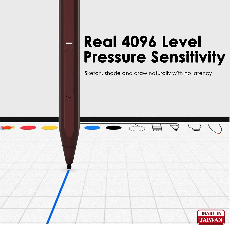 4096 Pressure Sensitivity First D Shape Same As Surface Pen RENAISSER Surface Pen Streamlined Aluminum Body Surface Original Burgundy 100/% Match Surface Pro X//7//6//5 Magnetic Attachment