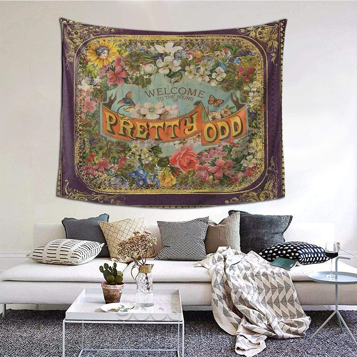 MOONSOON Welcome to The Sound of Pretty Odd Boutique Tapestry Wall Hanging Tapestry Vintage Tapestry Wall Tapestry Micro Fiber Peach Home Decor 59.1x51.2 in