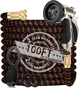 """WGCC Expandable Garden Hose, 100ft Extra-Thick [4 Layers Latex] Garden Water Hose with Heavy Duty 9 Function Sprayer Nozzle- High End Hose with 3/4"""" Solid Brass Fittings"""