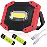 UNIKOO Rechargeable Work Light Flashlight COB 30W 1500LM, Waterproof LED Portable Flood Light for Outdoor Camping Hiking…
