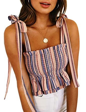 5e7f000c14 KAMISSY Women s Frill Smocked Crop Tank Top Tie Shoulder Strap Vest (Small