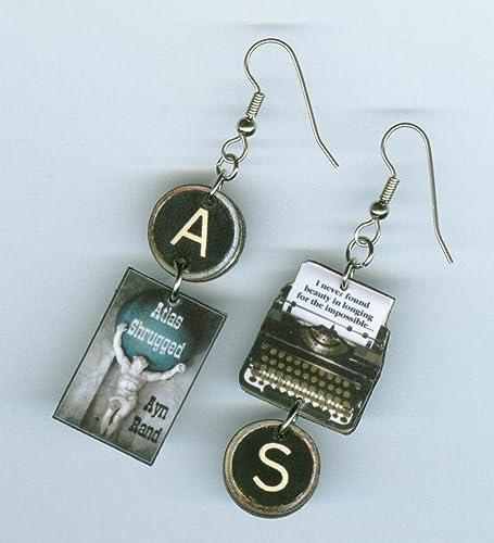 Amazon com: Atlas Shrugged book earrings - Typewriter Key jewelry