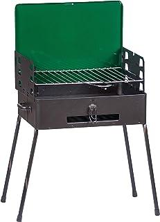 Arancione BAKAJI Barbecue a Carbone Carbonella Richiudibile in Valigetta Altezza di Cottura Regolabile Dimensioni 30x40x70cm