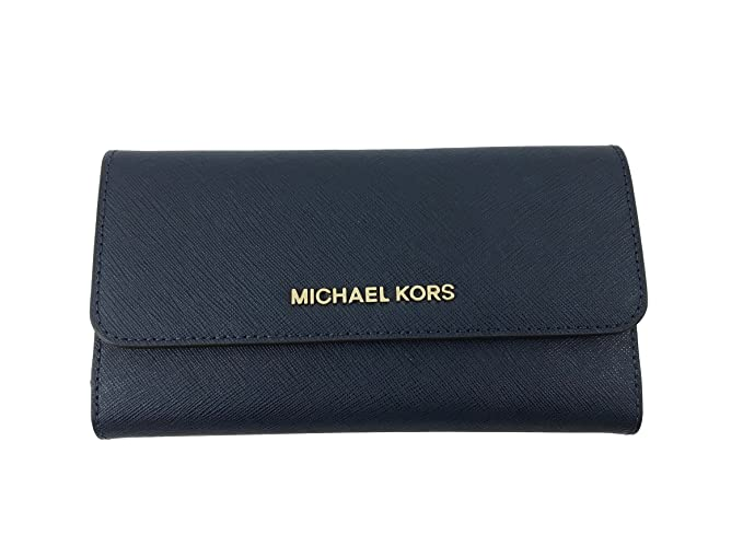 cae914888e22 Michael Kors Jet Set Travel Large Trifold Leather Wallet in Navy  Amazon.co. uk  Clothing
