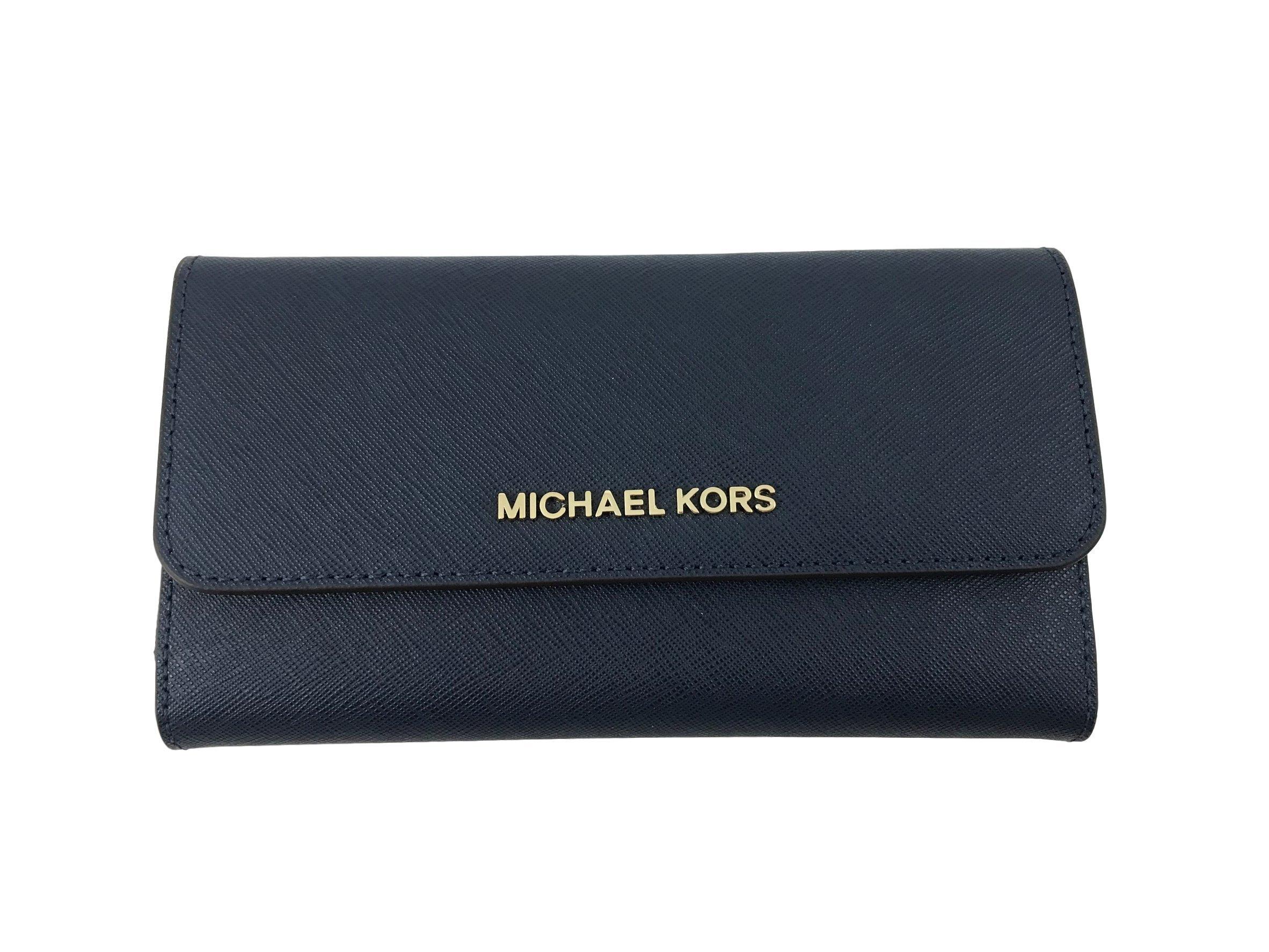 Michael Kors Jet Set Travel Large Trifold Leather Wallet (Navy)