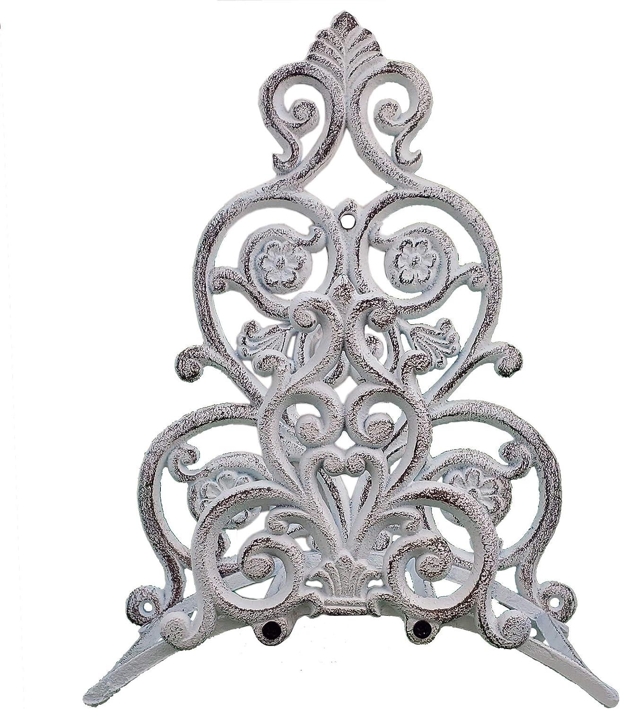 Import Wholesales Wall Mount Garden Hose Holder Hanger Distressed White Cast Iron Floral & Spade 13.25