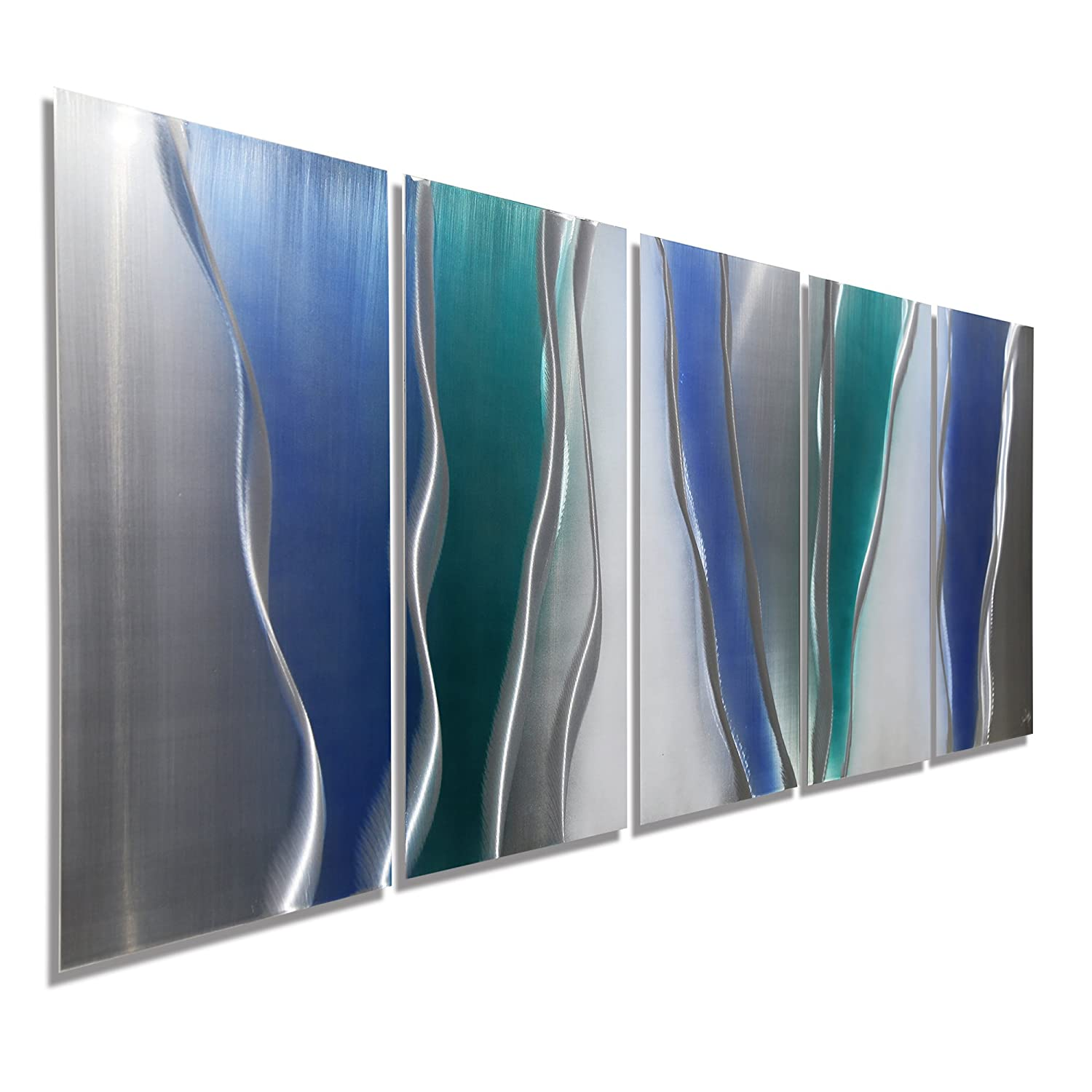 Large bright blue teal and silver metallic contemporary abstract painting home decor home accent modern metal wall sculpture glacier falls by jon