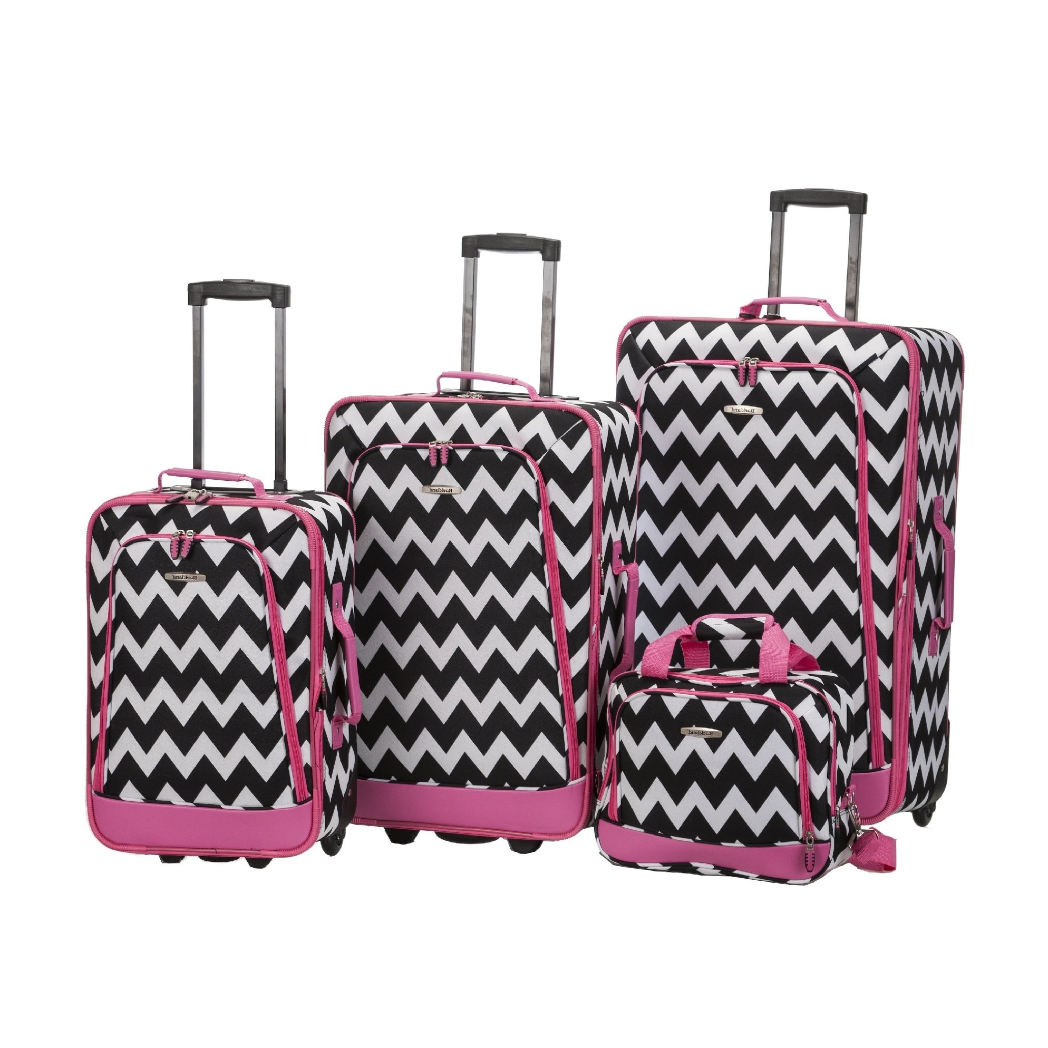 4 Piece Geometric Chevron Theme Lightweight Expandable Carry On Luggage Set Suitcases, Modern Geo Zigzag Herringbone Motif, Softside, Fashionable, Multi Compartment, Handle Travel Cases, Black, Pink