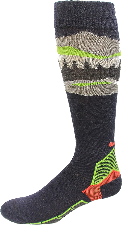 Columbia unisex adult Omni Heat Over the Calf Mountain Range Medium Weight Socks, 1 Pair Skiing Socks, Black/Nuclear, M 6-9 W 8-11.5 US