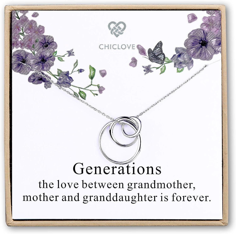 CHICLOVE Collar de Plata esterlina con 3 círculos - Collar Generación - Collares Madre Abuela Madre - Collar Familiar - Regalo de Abuela - Collar Madre Hija