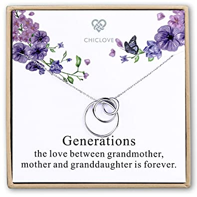 5e93541f8 Chiclove Sterling Silver 3 Circles Necklace - Generation Necklace -  Grandmother Mother Daughter Necklaces - Family