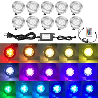Qaca 10pcs low voltage led deck lights kit multi color rgb qaca 10pcs low voltage led deck lights kit multi color rgb stainless steel waterproof outdoor mozeypictures Image collections