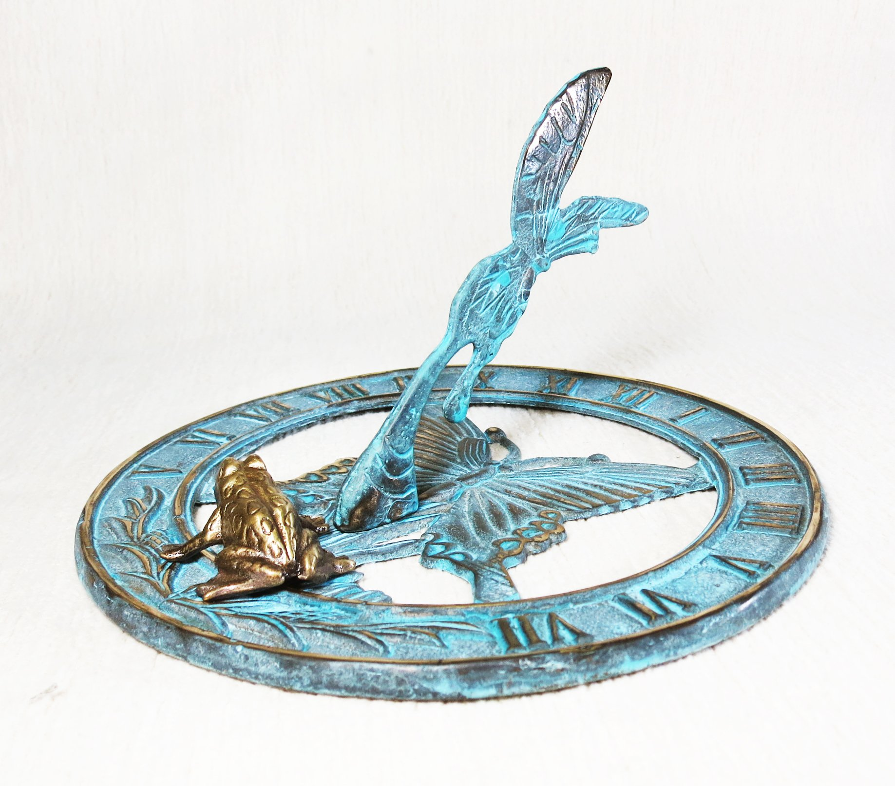 Brass Butterfly Sundial 8'' Inches Wide - With a Little Frog
