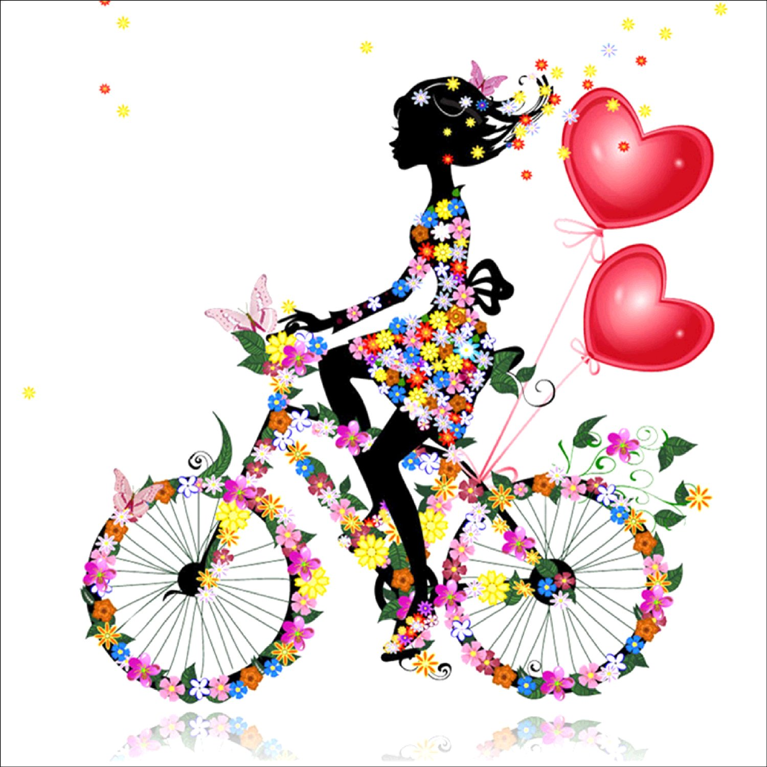 DIY 5D Diamond Painting by Number Kit, Girl Riding Bike Crystal Rhinestone Embroidery Cross Stitch Ornaments Arts Craft Canvas Wall Decor AIRDEA 4336933707