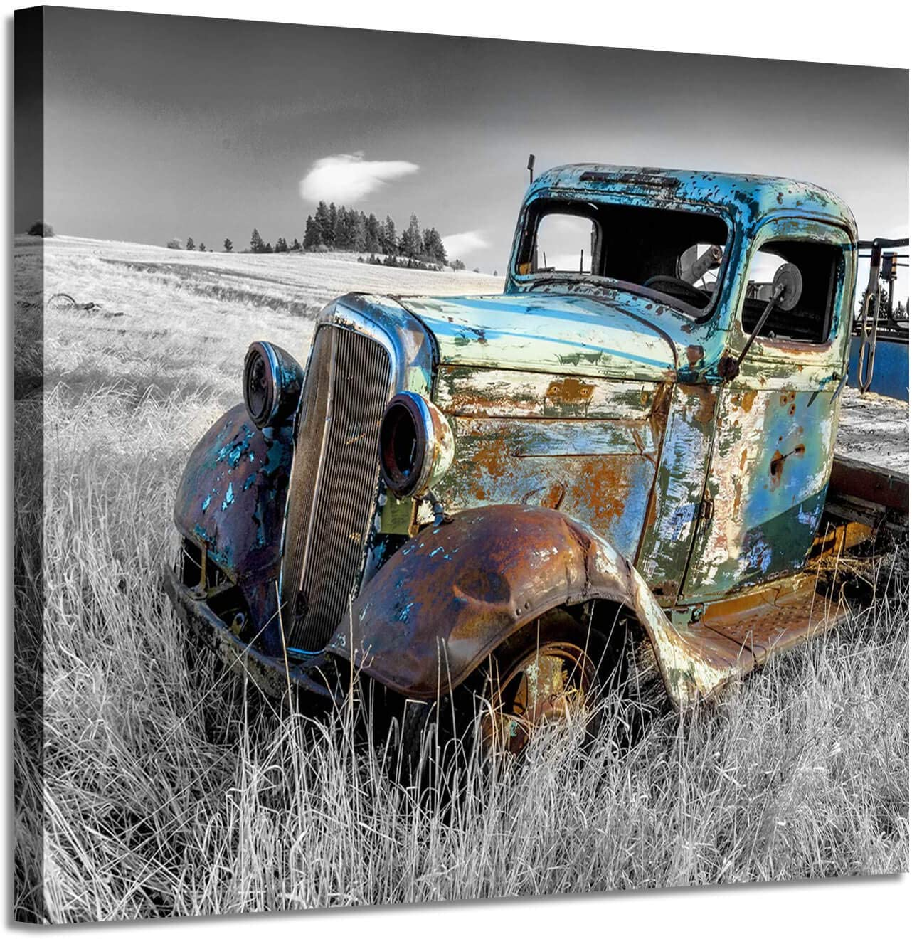Rusty Car Canvas Wall Art: Old Truck Pictures Paintings Print on Canvas Artwork for Bedrooms (24'' x 18'')