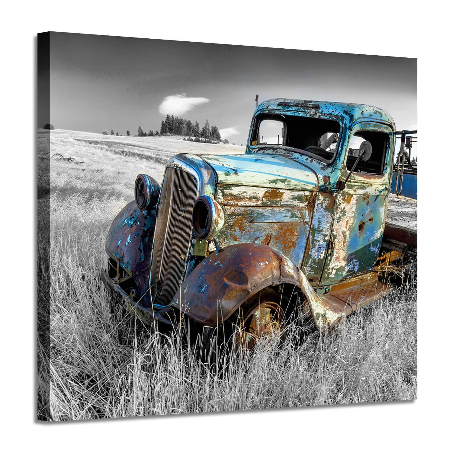 "Rusty Car Canvas Wall Art: Old Truck Pictures Paintings Print on Canvas Artwork for Bedrooms (24"" W x 18"" H,Multi-Sized)"