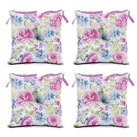 domarex Juego de 4 Cojines para Silla de jardín, Color Rosa, 40 x 40 ...