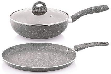 Nirlon Aluminium Cookware Set, 2-Pieces, Grey (MARBLE_FT28+KD24) Pot & Pan Sets at amazon