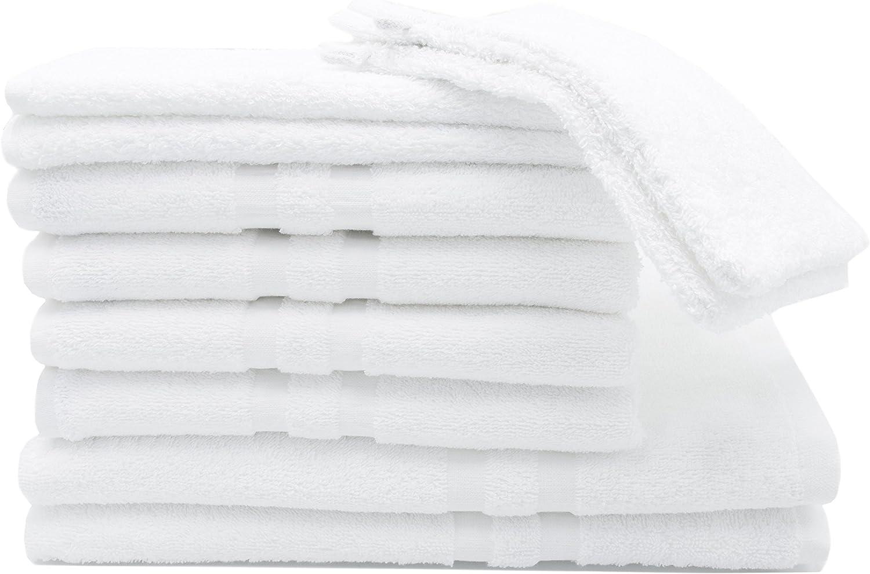 ZOLLNER Juego de Toallas de baño Compuesto por 10 Piezas, algodón, Blancas