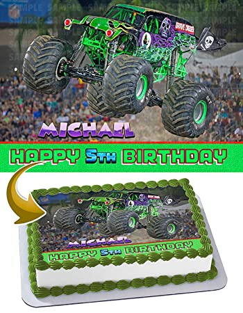 Grave Digger Monster Truck Edible Cake Image Topper Personalized ...