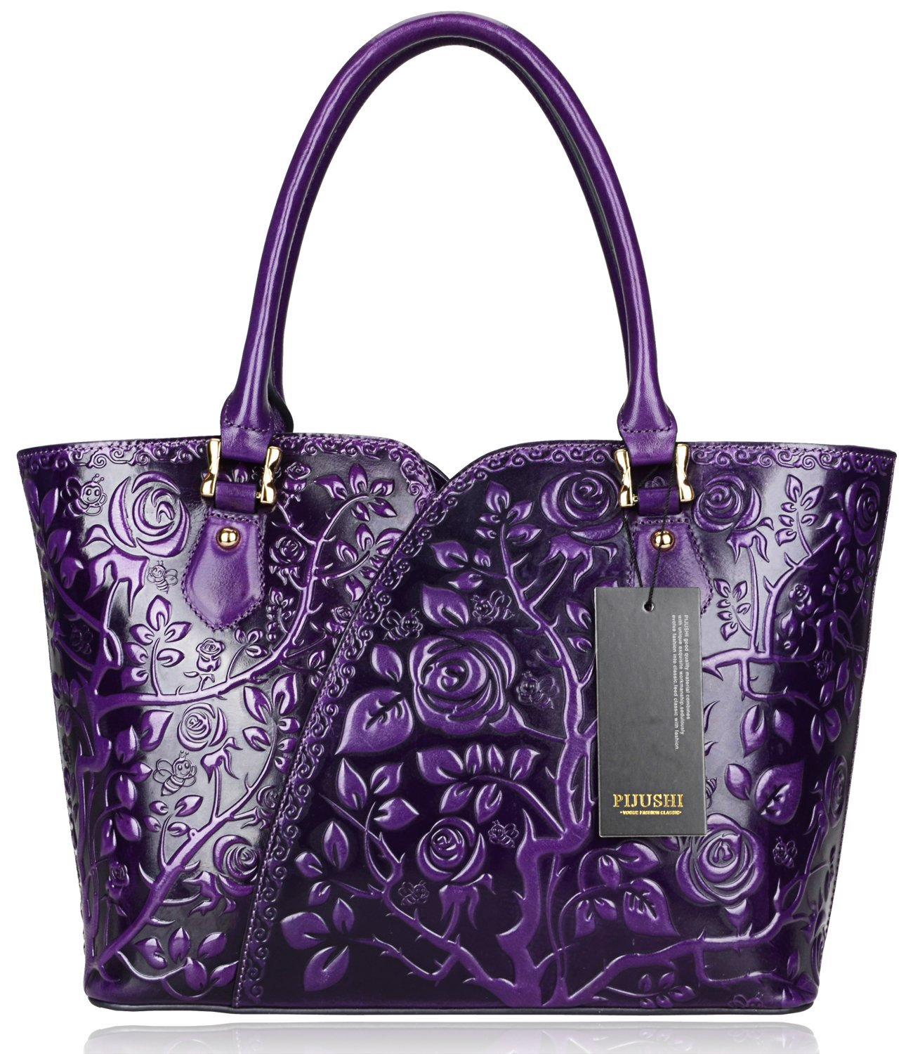 PIJUSHI Floral Purse Designer Satchel Handbags Women Totes Shoulder Bags 22328 (one size, Purple)