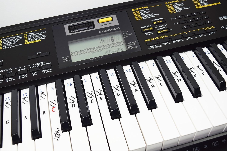 Calcomanías De Piano Para Teclados De 49 / 61/ 76 / 88 Teclas - Transparentes Y Removibles Con Ebook Gratuito De Piano: Amazon.es: Instrumentos musicales