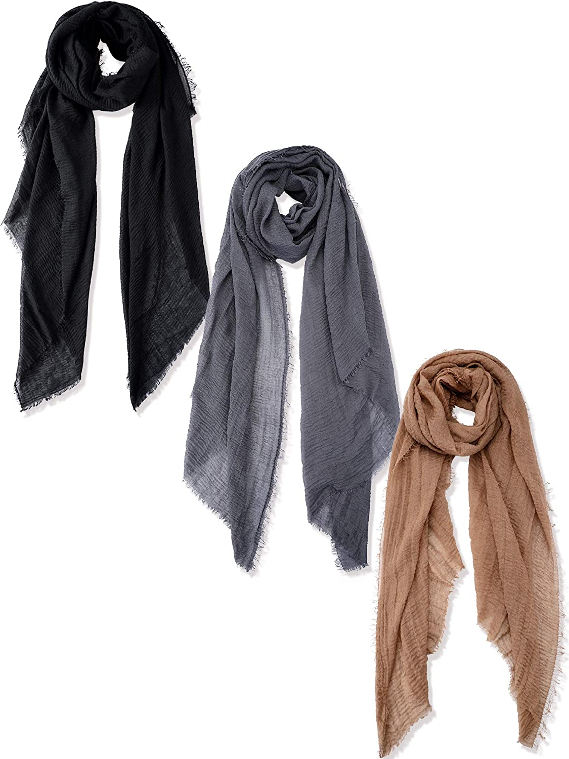 3 Pieces Women Cotton Scarf...