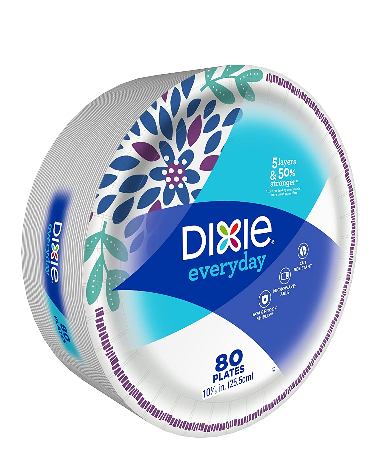 10 1//16 inches Dixie Everyday Paper Plates - Pack of 80 Count Dinner Size