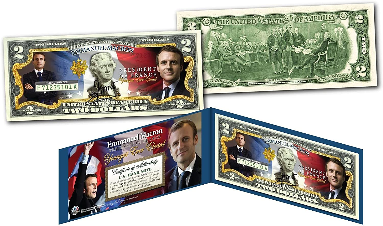 EMMANUEL MACRON President of France OFFICIAL Genuine Legal Tender U.S $2 Bill