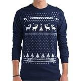 Glow-in-the-dark Renna di Natale da uomo a maniche lunghe maglietta Retro colore: blu alternativa a un maglione natalizio