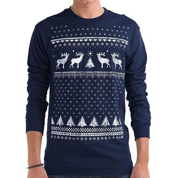 d864642dbec7b T-shirt de Noël à manches longues avec Renne brillant dans la nuit pour  hommes