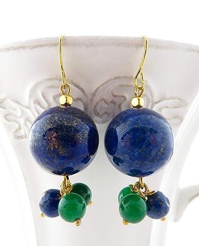 995bb5b2986e Pendientes de lapis lazuli azul y jade verde