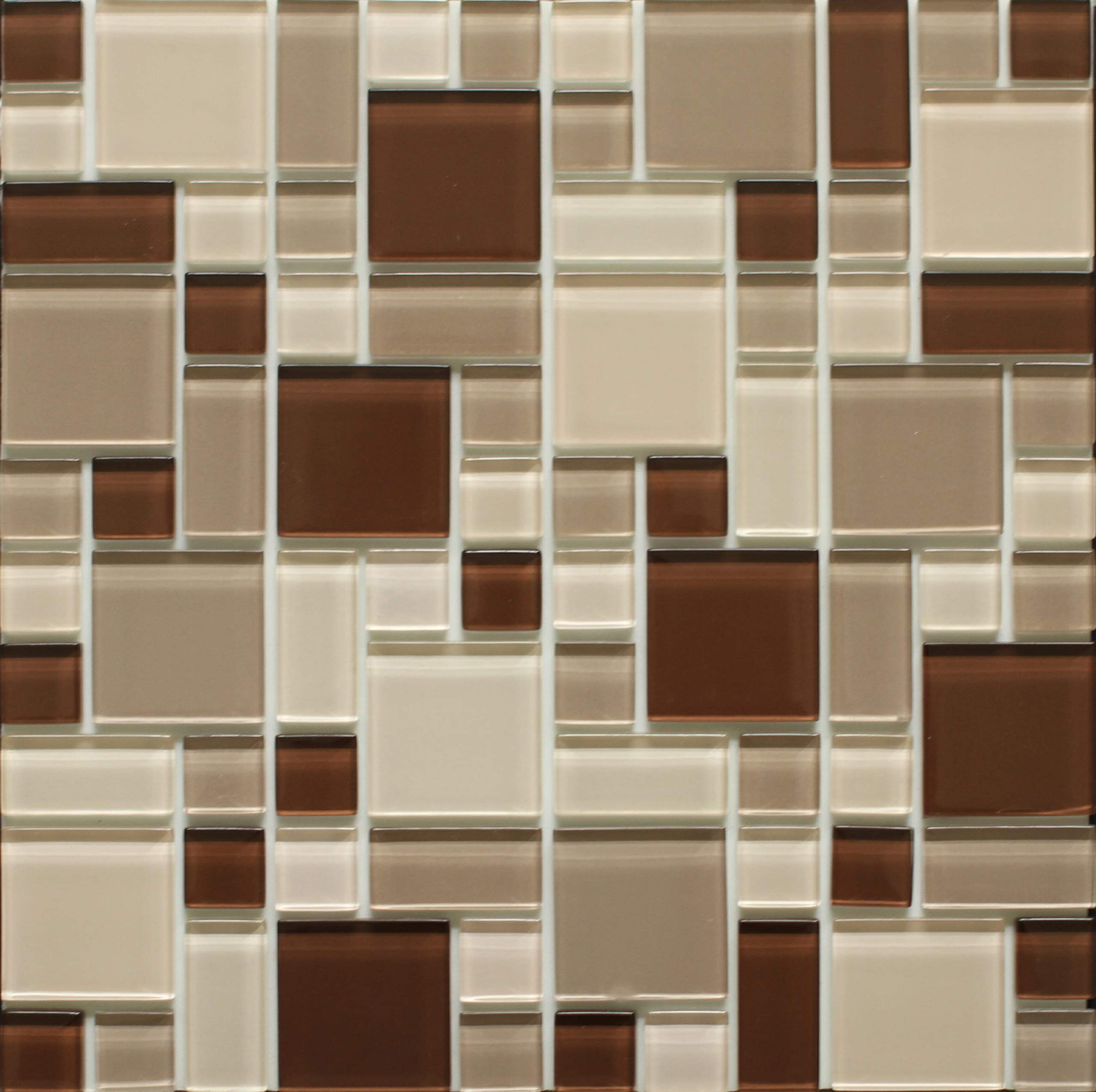 Instant Mosaic Peel'N'Stick Glass Mosaic Wall Tile, 12'' x 12''