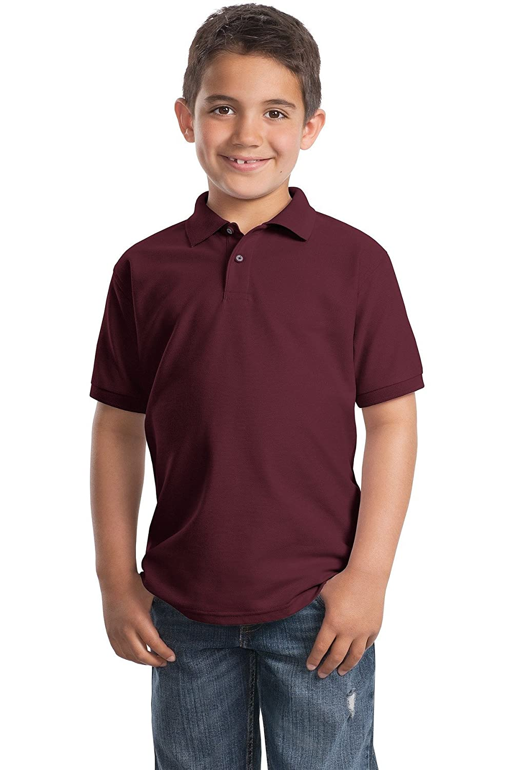 Port Authority Youth Silk Touch Polo Y500 Burgundy XS