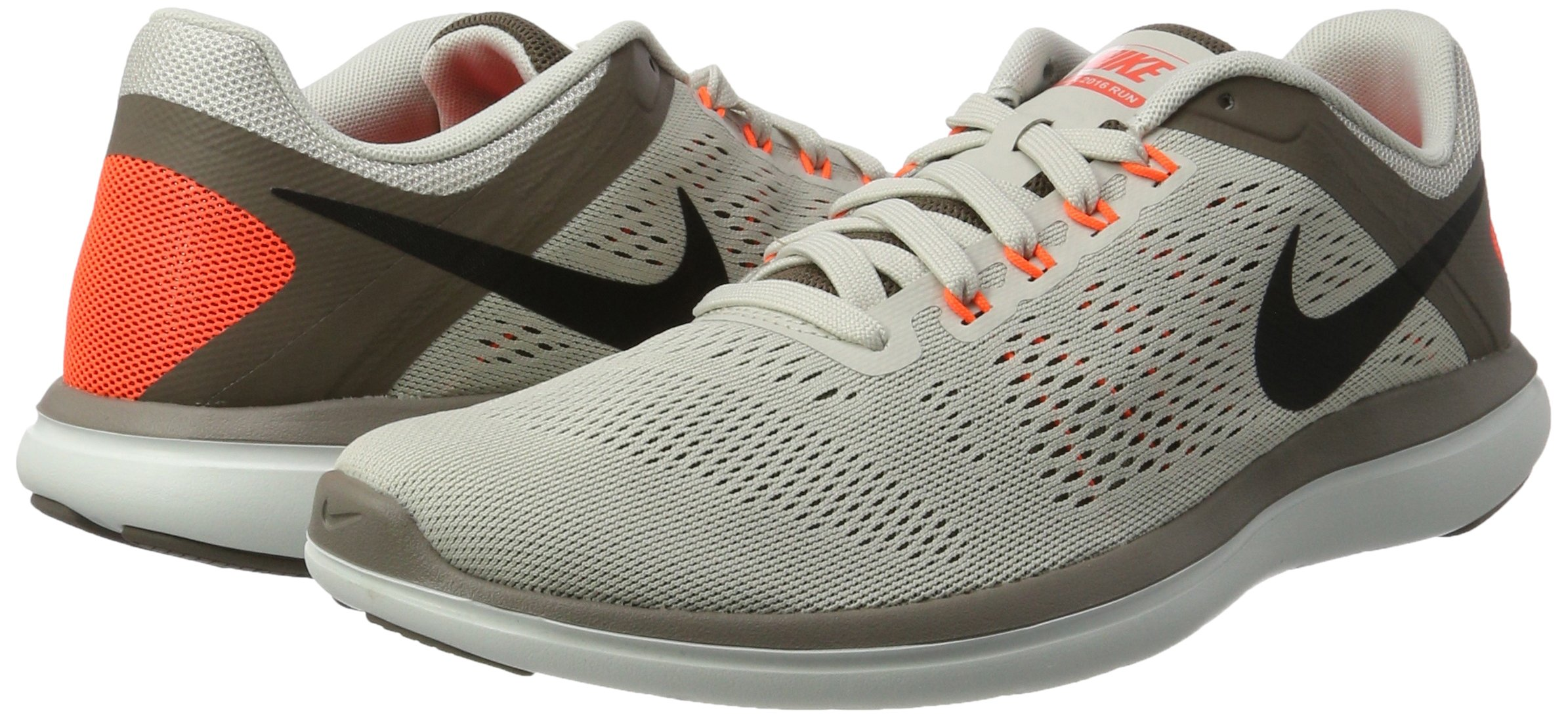 Nike Mens Flex 2016 RN Running Shoe Light Bone/Dark Mushroom/Hyper Orange/Black 8.5 D(M) US by NIKE (Image #5)