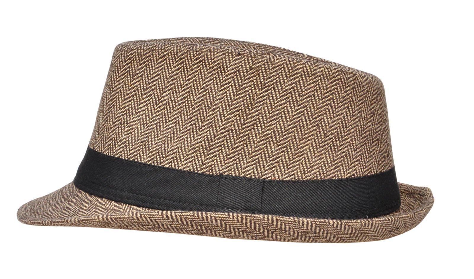 8d08dc310b5fe Simplicity Men Women Manhattan Structured Gangster Trilby Wool Fedora Hat    Fedoras   Clothing