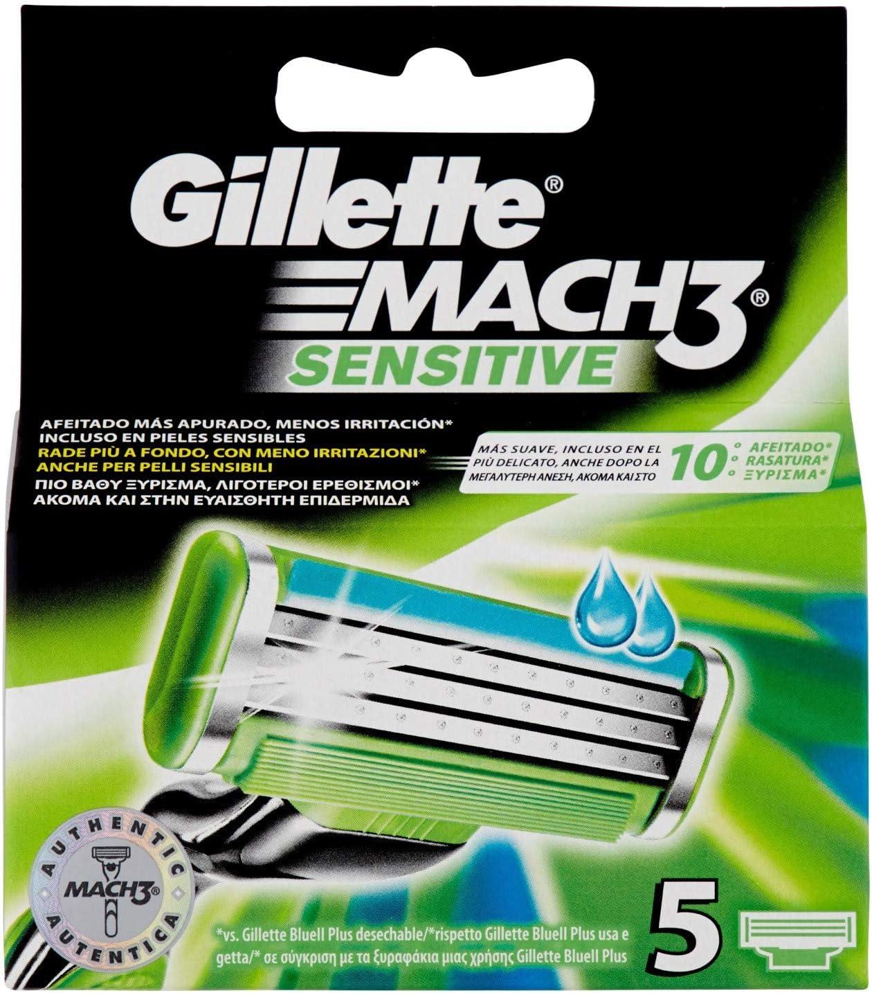 Gillette Mach 3 Cuchillas de Recambio para Maquinilla de Afeitar Piel Sensible 5 Unidades