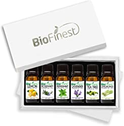 Biofinest Top 6 Essential Oils - Premium Aromatherapy Gift Set - 100% Pure Therapeutic Grade - FREE E-Book - Basic Sampler 6/10ml (Lavender, Tea Tree, Rosemary, Lemongrass, Lemon, Peppermint)