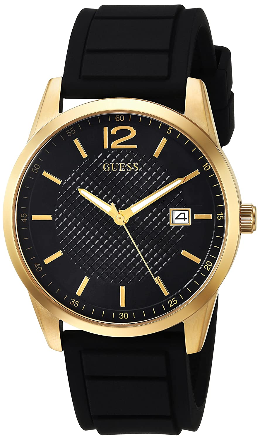 Amazon.com: GUESS Mens Stainless Steel Casual Silicone Watch, Color: Black/Gold-Tone (Model: U0991G2): Watches