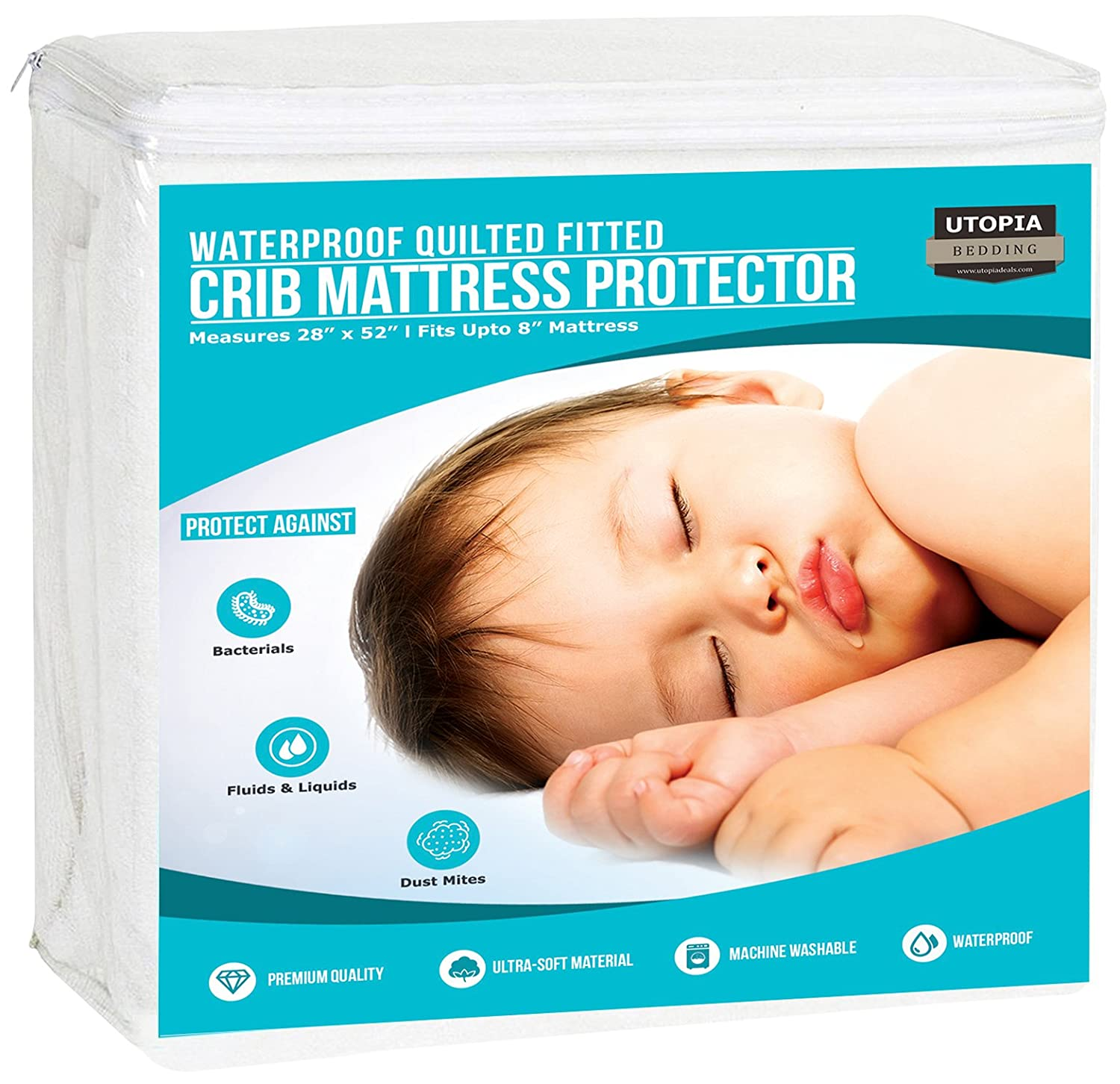 Utopia Bedding Waterproof Crib Mattress Protector - Breathable Mattress Cover - Hypoallergenic Quilted Crib Fitted - Cradle Mattress Pad (Pack of 2) UB0024