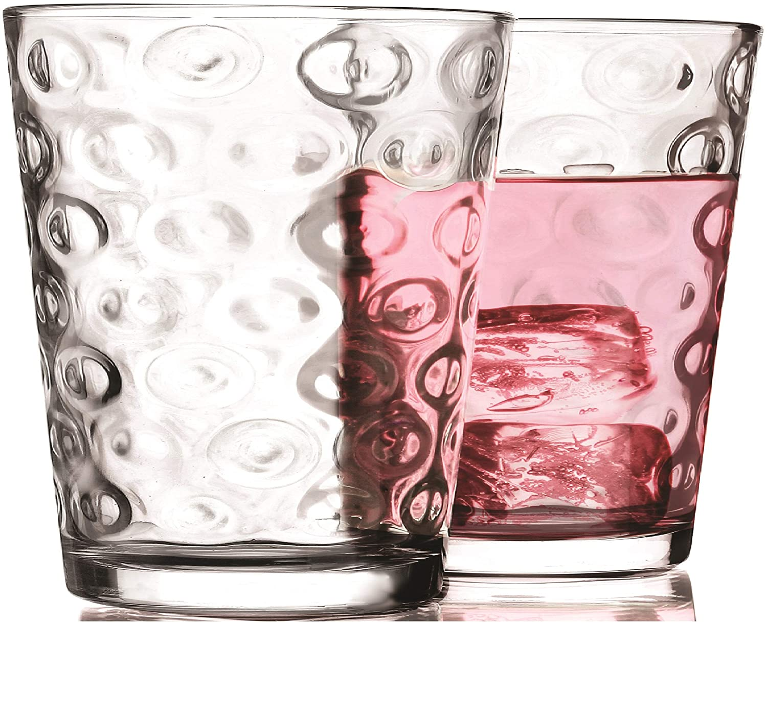 4 piece Set 7 oz Beer Milk Home /& Kitchen Entertainment Glassware for Water Heavy Base Tumbler Beverage Ice Tea Cups Clear Whiskey Bar Decor Circleware 40182 Circles Juice Drinking Glasses